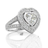 Heart-Shaped Halo Diamond Ring