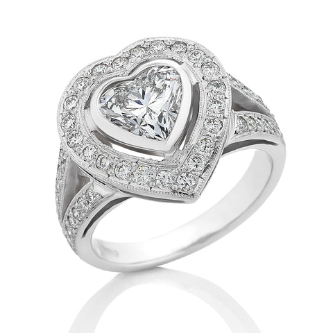 *SOLD* GIA Certified 18ct White Gold 1.41cts Heart-Cut Diamond Ring