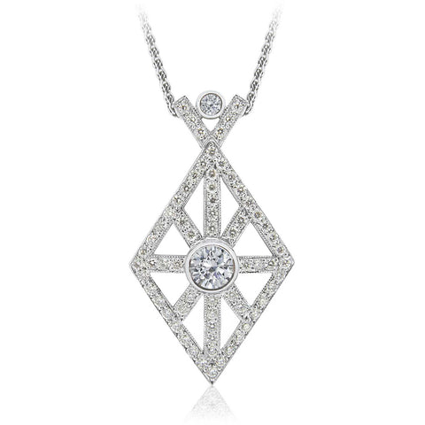 18ct White Gold Prism Diamond pendant  P.4993