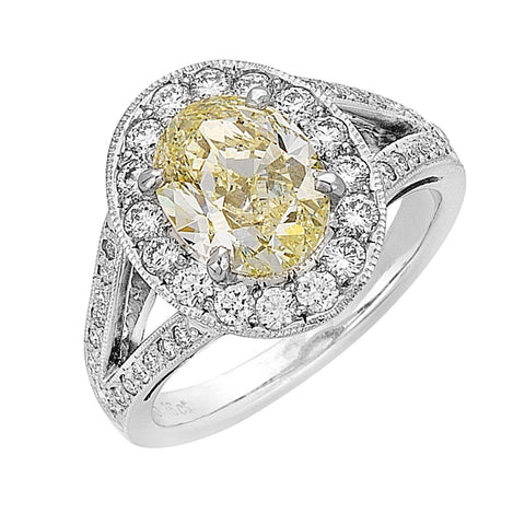yellow diamond halo ring with split shoulders, handmade Melbourne