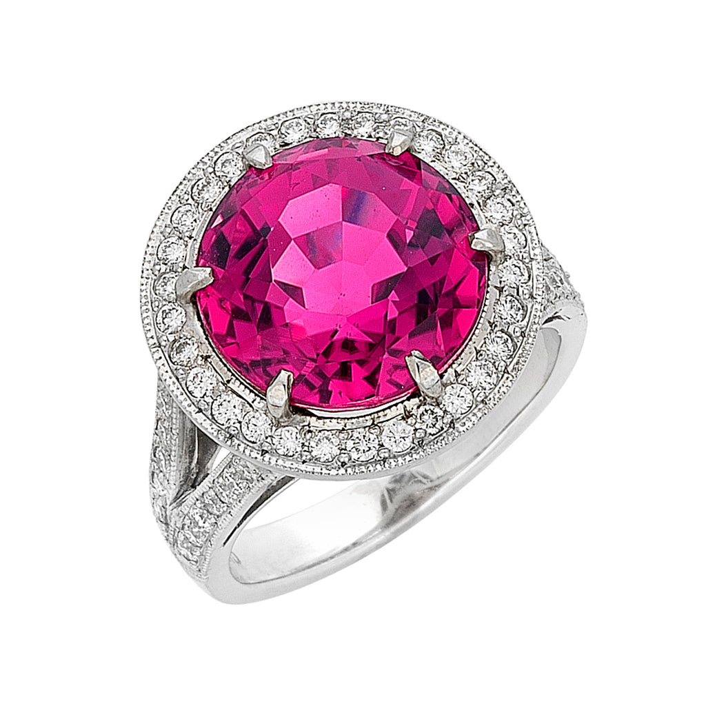 Round pink Tourmaline diamond halo ring