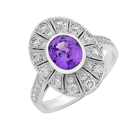 purple sapphire and diamond ring, handmade jewellery Melbourne