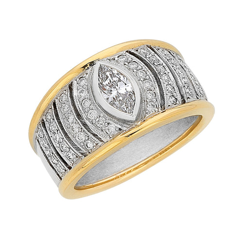 Marquise cut diamond dress ring, white gold and yellow gold