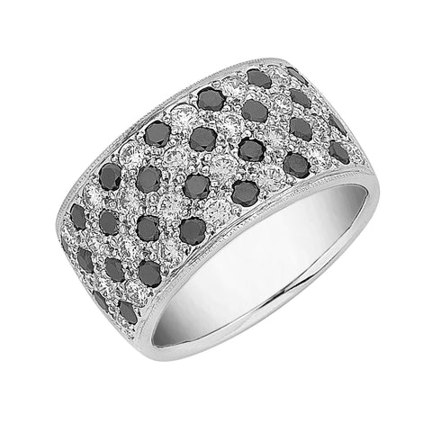 black diamond and white diamond ring 'checkerboard' pave set