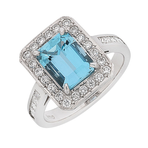 emerald cut aquamarine and diamond halo ring, handmade jewellery Melbourne