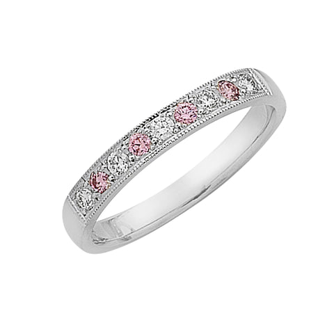 pink diamond and white diamond eternity ring, handmade jewellery Melbourne