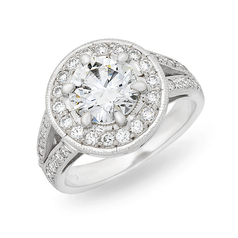 1.81ct Centre Halo Cluster Diamond Ring