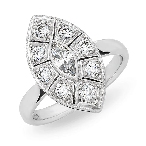 Navette Shape Marquise Diamond Art Deco Style Ring