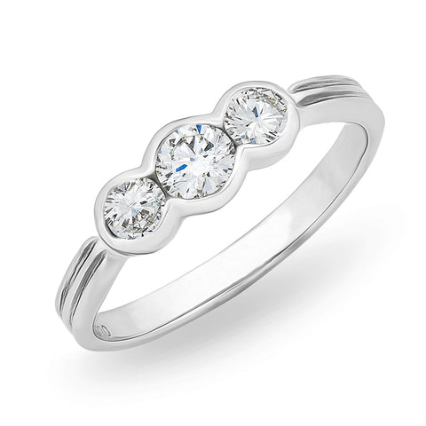 3 Stone Bezel Setting Diamond Ring