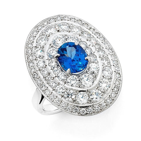 'Gatsby - Coco' Art Deco style sapphire and diamond ring   WPR93