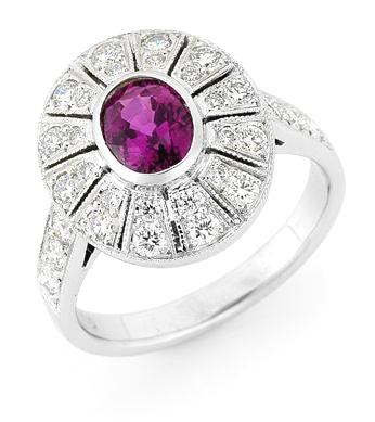 Oval Ruby & Diamond Art Deco Style Ring   WPR64