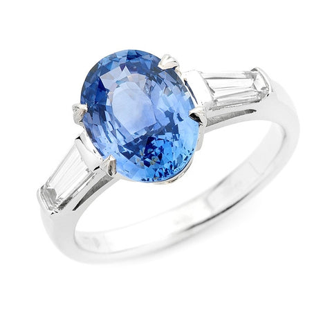 Oval Sapphire & Tapered Baguette Diamond Ring   WPR06