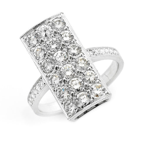 'Rectangular Pave' Art Deco Style Diamond Ring   WPR72
