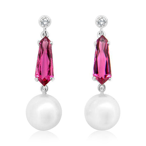 South Sea Pearl, Pink Tourmaline and Diamond Drop Earrings