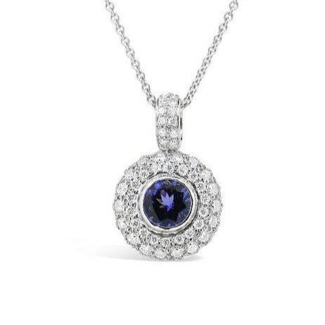 Tanzanite and diamond cluster pendant    WPP34
