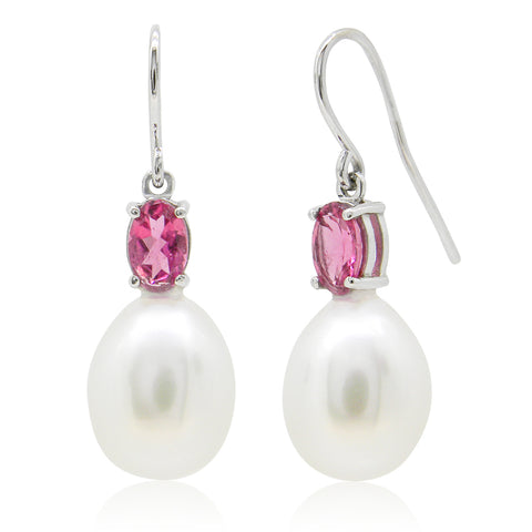 Pink Tourmaline and Freshwater Pearl Earrings I.1158