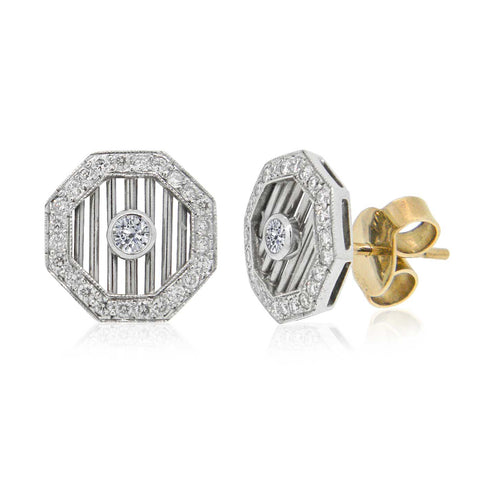 18ct 2-Tone Art Deco-Style 'Gatsby Trellis' Diamond Earrings I.3574