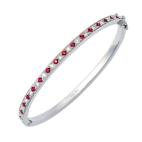 Ruby and diamond hinged bangle   WPB05