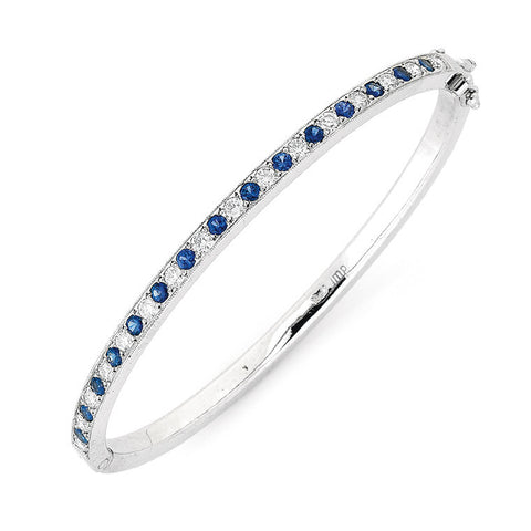 sapphire and diamond hinged bangle   WPB06