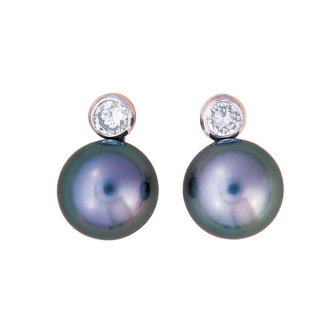 Tahitian pearl earrings. Small stud with diamond top, bespoke jewellery Melbourne