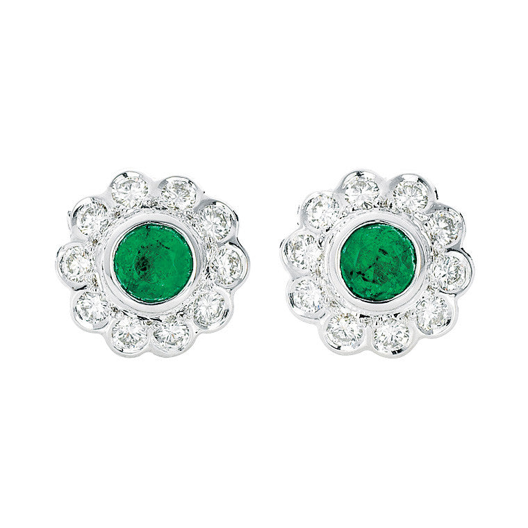 Emerald and diamond stud earrings   WPE05