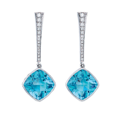 Blue Topaz & Diamond Drop 'Swing' Earrings   WPE10