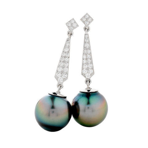 long drop earrings Tahitian pearls with multiple diamonds, post and scroll fittings, designed and handmade by Imp Jewellery