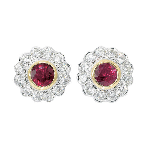 Ruby and diamond cluster earrings   WPE16