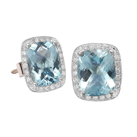 'Halo' Aquamarine & Diamond Earrings   WPE17