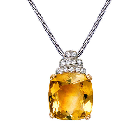 Cushion cut citrine and diamond pendant   WPP02