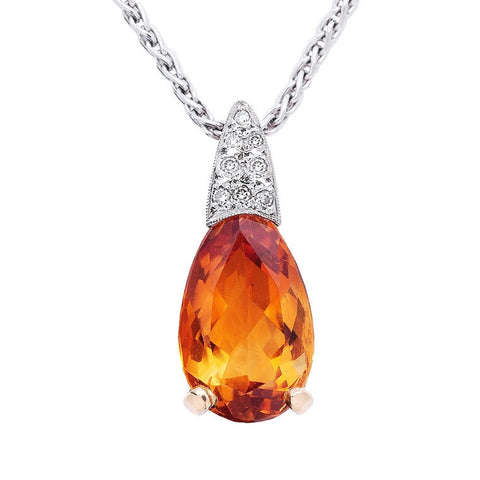 Pear shaped citrine and diamond pendant   WPP06