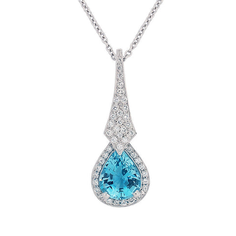 Pear shape aquamarine and diamond pendant   WPP12