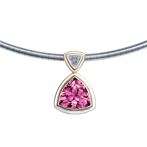 Trilliant cut pink tourmaline and diamond pendant   WPP13