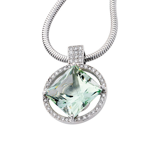 Green beryl and diamond pendant   WPP23