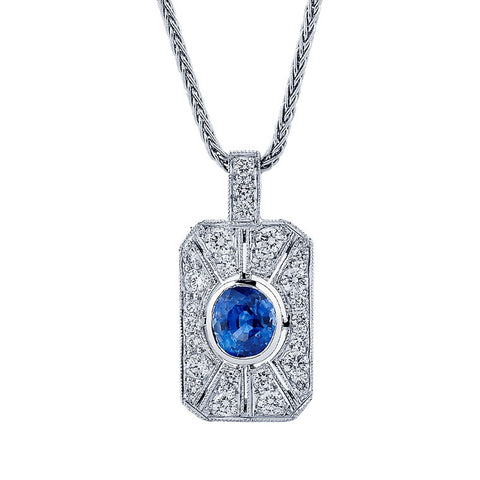 Sapphire and diamond Art Deco style pendant  WPP26