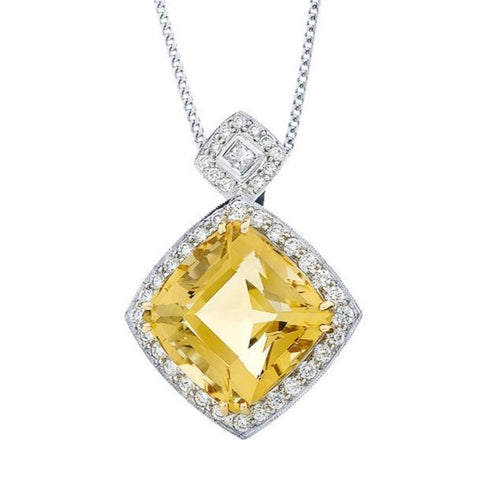 'Halo' Citrine & Diamond Pendant   WPP27