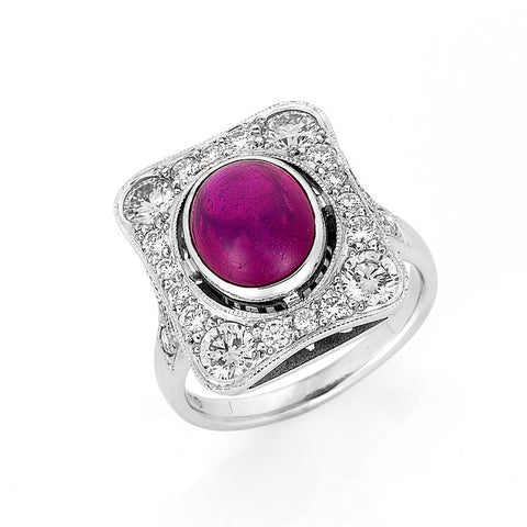 ruby cabochon and diamond cocktail ring, art deco style, bespoke jewellery Melbourne