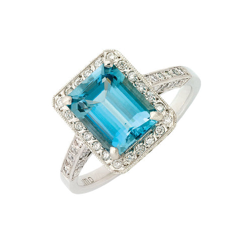 halo aquamarine and diamond ring, bespoke jewellery Melbourne