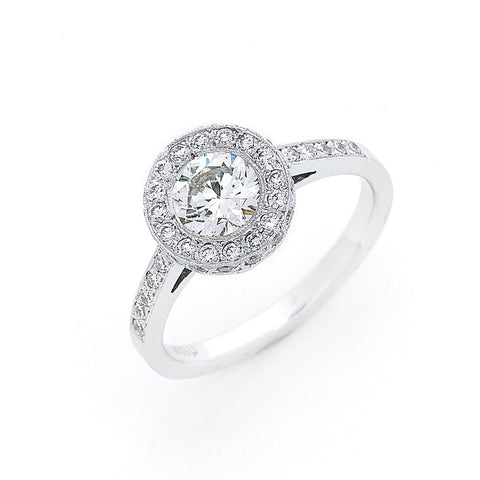 round diamond halo engagement ring with diamond shoulders, handmade in Melbourne