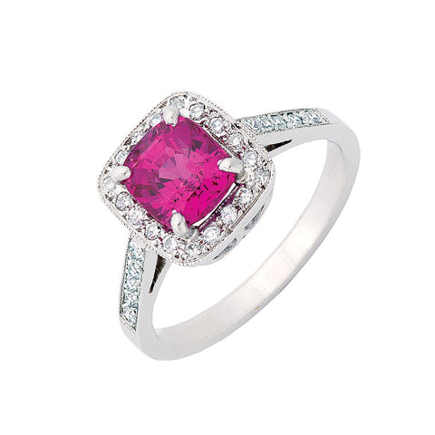 pink sapphire engagement ring with diamond halo, bespoke jewellery Melbourne