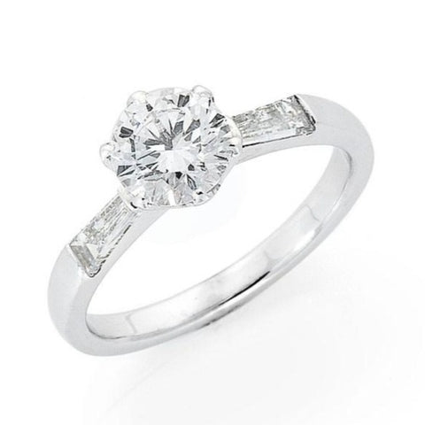 diamond engagement ring with tappered baguette shoulders, handmade to order jewellery Melbourne