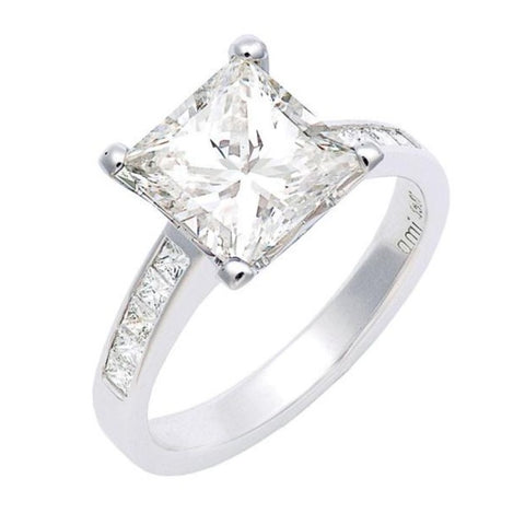 princess cut diamond engagement ring with channel set princess cut diamond shoulders