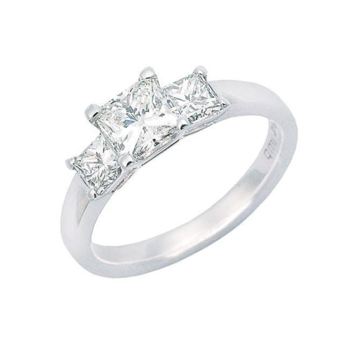 princess cut diamond engagement ring, three across claw set