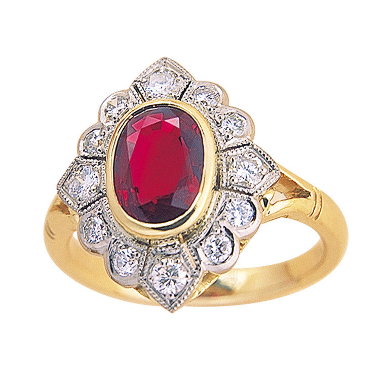 ruby and diamond cluster ring art deco style two tone gold, bespoke jewellery Melbourne
