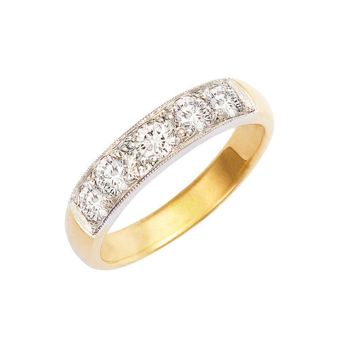 diamond set wedding band or eternity ring, two tone