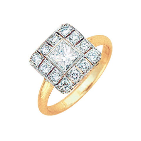square shape diamond ring art deco style two tone, bespoke jewellery Melbourne