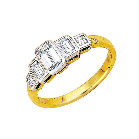 emerald cut diamonds 5 across two tone ring
