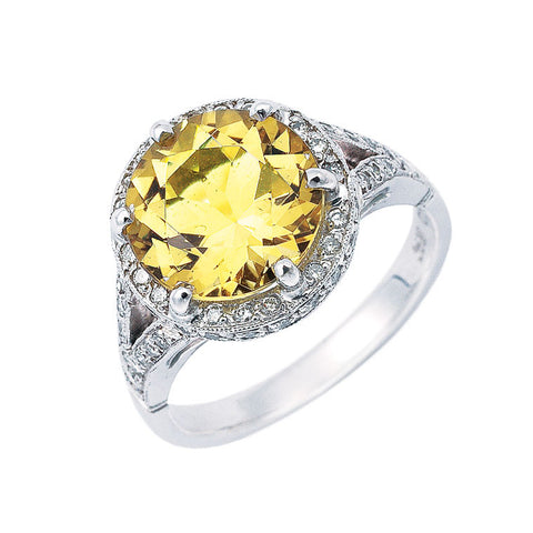 halo ring golden beryl and diamond with split shoulders