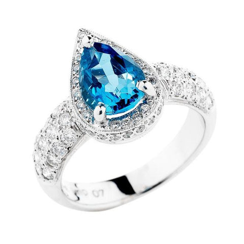 pear shape aqua and diamond ring, handmade to order jewellery