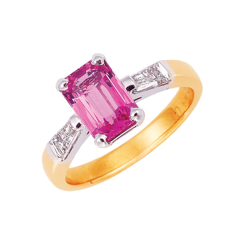 Pink sapphire engagement ring, emerald cut pink sapphire, tappered baguette diamonds